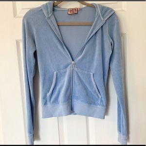 Baby Blue Juicy Couture Velour Zip Up